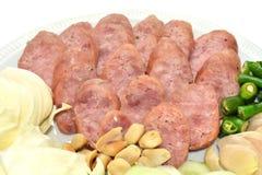 Reis und Schweinswurst, Thaifood Stockfotografie