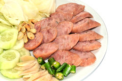 Reis und Schweinswurst, Thaifood Lizenzfreie Stockfotos