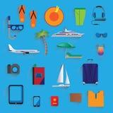 Reis, vakantie, toerisme pictogrammen Stock Afbeelding