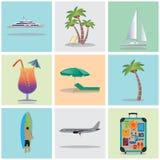 Reis, vakantie, vakantie pictogrammen Elementen voor ontwerp Stock Foto