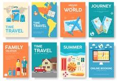 Reis van de reeks van de wereld vectorbrochure De pictogrammen van de reis Reisaffiches Reisboekje Reisvlieger Vlakke Reisbanners royalty-vrije illustratie