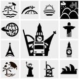 Reis vectordiepictogrammen op grijs worden geplaatst Stock Foto's
