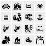 Reis vectordiepictogrammen op grijs worden geplaatst Stock Afbeeldingen