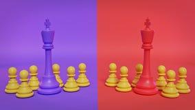 Reis violetas e vermelhos da xadrez que estão com muitos penhores rendi??o 3d ilustração do vetor
