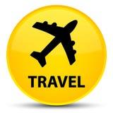 Reis (vliegtuigpictogram) speciale gele ronde knoop Stock Foto's