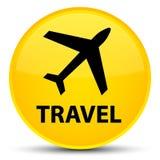 Reis (vliegtuigpictogram) speciale gele ronde knoop Royalty-vrije Stock Foto's