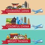 Reis wereldwijd die met beroemde aantrekkelijkheden wordt geplaatst royalty-vrije illustratie