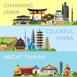 Reis wereldwijd die met beroemde aantrekkelijkheden wordt geplaatst stock illustratie