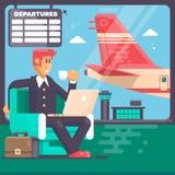 Reis, zakenreisconcept Het notitieboekje van de zakenmanholding in luchthaven met koffer en een vliegtuig op achtergrond Stock Afbeelding