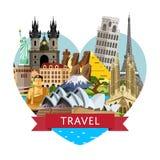 Reisbanner wereldwijd met beroemde aantrekkelijkheden royalty-vrije illustratie