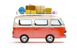 Reisbestelwagen met bagage Royalty-vrije Stock Foto's