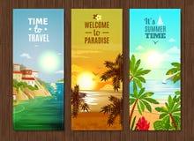 Reisbureau overzeese geplaatste vakantiebanners Stock Fotografie