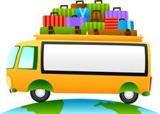 Reisbus met teken Stock Foto's