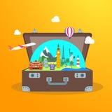 Reisconcept met Open Koffer Vector royalty-vrije illustratie