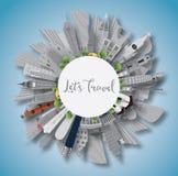 Reisconcept rond de wereld Beroemde internationale oriëntatiepunten Stock Foto's