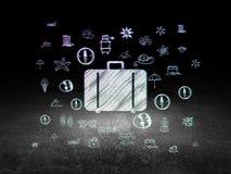 Reisconcept: Zak in grunge donkere ruimte Stock Afbeeldingen