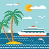 Reiscruise - vectorconceptenillustratie in vlak stijlontwerp Cruisevoering Stock Foto