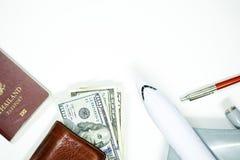 Reise accessorie auf Weiß Lizenzfreies Stockbild