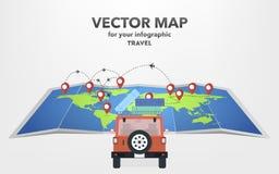 Reise auf einem Auto in der flachen Art, Vektorillustration vektor abbildung