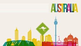 Reise-Australien-Bestimmungsortmarkstein-Skylinehintergrund Stockfotografie