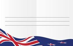 Reise cadr Schablone für Grüße mit Flagge des Aotearoa Stockfotografie