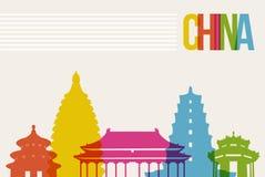 Reise-China-Bestimmungsortmarkstein-Skylinehintergrund Stockbilder