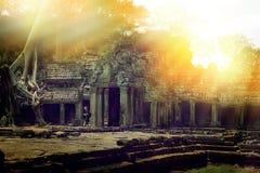 Reise in den mysteriösen Ländern alter Tempel in Angkor Wat Bereich Stockbild