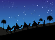 Reise in der Wüste unter Verwendung der Kamele Lizenzfreie Stockbilder