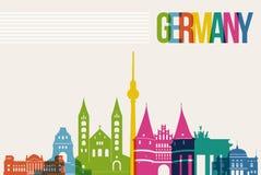 Reise-Deutschland-Bestimmungsortmarkstein-Skylinehintergrund Lizenzfreies Stockfoto
