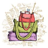 Reise Doddle mit Gepäck Lizenzfreies Stockbild