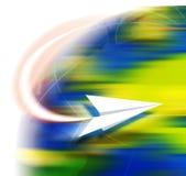 Reise durch Paperflugzeug Lizenzfreie Stockbilder