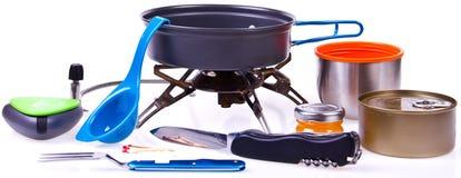 Reise eingestellt für das Essen Tellerausrüstung des Touristen Lizenzfreies Stockfoto