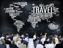 Reise erforschen globales Bestimmungsort-Reise-Abenteuer-Konzept vektor abbildung