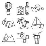Reise-, Erholungs- und Ferienvektorbildsatz Tourismusarten Vektor stock abbildung