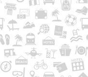 Reise, Ferien, Tourismus, Erholung, nahtloses Muster, Monochrom, Weiß, Vektor stock abbildung