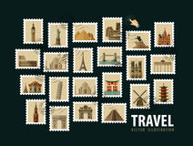 Reise, Ferienvektorlogo-Designschablone Stockfotos