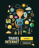 Reise, Ferienvektorlogo-Designschablone Lizenzfreies Stockbild