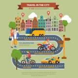 Reise in flachem infographics Vektor der Stadt: Taxibus-Straßentourismus Lizenzfreie Stockbilder