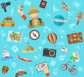 Reise-flaches Farbmuster Stockfoto