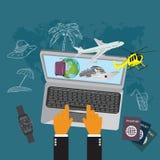 Reise, Gepäck, Kreuzfahrtschiff, Hubschrauber, Flugzeug, flache Vektorillustration, apps, Fahne Lizenzfreie Stockbilder