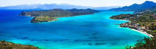 Reise in Griechenland überraschendes Kreta Ansicht von Spinalonga-Insel und von P Lizenzfreies Stockbild
