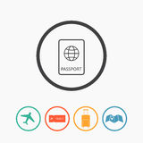 Reise-Ikonen flach Stockfoto