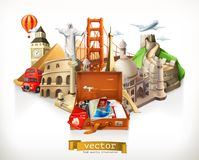 Reise, Illustration des Vektors 3d Stockfoto