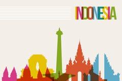 Reise-Indonesien-Bestimmungsortmarkstein-Skylinehintergrund Stockbild