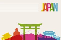 Reise-Japan-Bestimmungsortmarkstein-Skylinehintergrund Stockbild