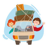 Reise mit dem Auto, eine Reise, eine Reiseüberfahrt Lizenzfreie Stockfotos