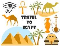 Reise nach Ägypten Symbole von Ägypten Tourismus und Abenteuer Vektor Abbildung