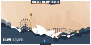 Reise nach Australien Reise und Tourismusplakat Vektor flaches illu stock abbildung