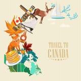 Reise nach Kanada Heller Entwurf Bunte Postkarte Kanadische Vektorillustration Retro- Art Reisepostkarte Lizenzfreies Stockfoto