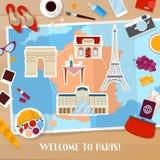 Reise nach Paris Frankreich Tourismus-und Ferien-Hintergrund mit Karte, Architektur und reisenden Ikonen lizenzfreie abbildung
